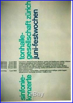 Original vintage poster SYMPHONIE CONCERT FESTIVAL ZURICH 1964