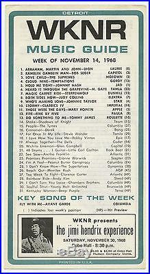 Orignal 1968 JIMI HENDRIX EXPERIENCE Cobo Hall Concert Handbill / Flyer