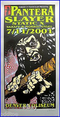 PANTERA & SLAYER- ORIGINAL Rare 2001 Concert Poster S/N by Lindsey Kuhn, Denver