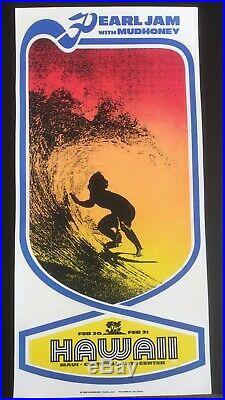 PEARL JAM 1998 AMES BROS ORIGINAL MAUI HAWAII CONCERT POSTER 1st Printing. RARE