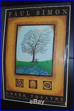 Paul Simon LA 2006 concert poster #/100 Emek art print Jerry Douglas Band white
