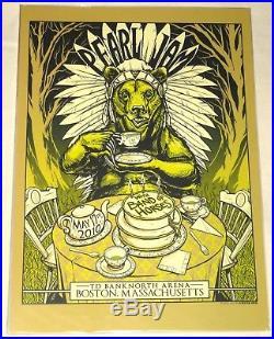 Pearl Jam Munk One 2010 Boston Mini Concert Tour Poster! Mint