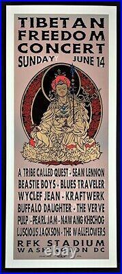 Pearl Jam POSTER Beastie Boys Sean Lennon Silkscreen Tibetan Freedom Concert TAZ