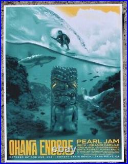 Pearl Jam Poster Ohana encore 2021 festival pj concert tour eddie vedder surf