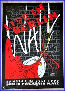 Pink Floyd Roger Waters rare Original Concert Poster 1990 The Wall Live Berlin