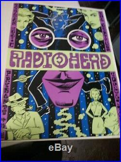 RADIOHEAD Rare 1998 Silk Screen Concert Poster Ward Sutton ok computer tour s/n