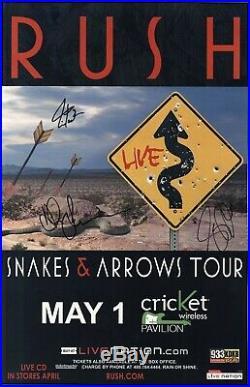 RUSH authentic autographed memorabilia concert signed tour poster JSA Authentic