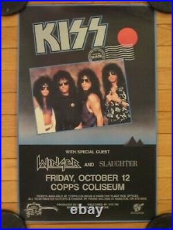 Rare KISS Hot In The Shade Canadian Concert Poster 1990 Winger & Slaughter