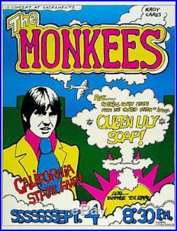 Rare Original Monkees Sacramento State Fair 1969 Concert Poster Queen Lily Soap