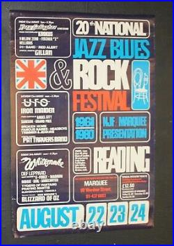 Reading Festival 1980 Iron Maiden Ozzy UFO 75x50cm Original Metal Concert Poster