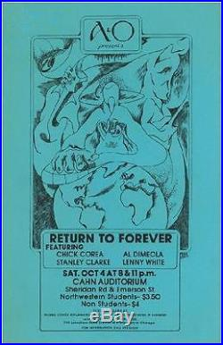 Return To Forever Chick Corea Chicago 1975 Concert Poster Original Rare Jazz