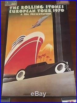 Rolling Stones European Tour 1970 Vintage Original Tour Concert Poster Mint