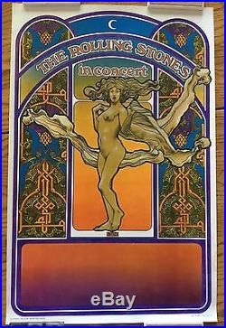 Rolling Stones Original 1969 Tea Lautrec Litho In Concert Poster Excellent