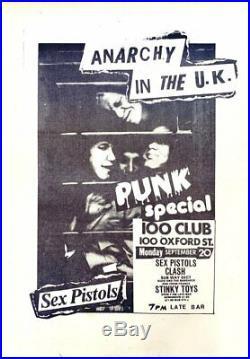 SEX PISTOLS The Clash SIOUXIE Etc 1976 Punk SPECIAL 100 Club PUNK CONCERT POSTER