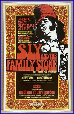 SLY and the FAMILY STONE Rare Earth Original 1971 Boxing Style Concert Poster