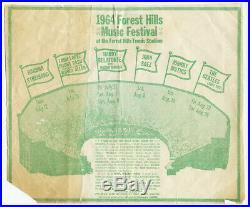 SUPER Rare THE BEATLES Streisand Baez Dylan 1964 Forest Hills Concert Handbill