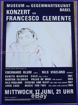 SWISS CONCERT POSTER A CONCERT FOR FRANCESCO CLEMENTE morton feldman art