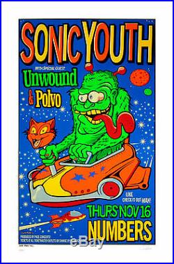 Sonic Youth Poster 1995 Original Concert Art Print by Uncle Charlie S/N