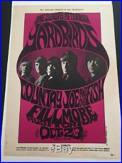 Super Rare Authentic Bill Graham Fillmore Concert Poster Yardbirds 10/23/66