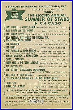 THE BEATLES Beach Boys ROLLING STONES The Byrds Original 1966 Concert Handbill