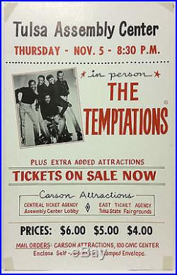 THE TEMPTATIONS Original 1970 Cardboard Boxing Style Concert Poster