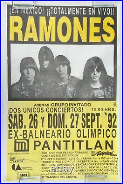 The RAMONES Ex-Balneario Olímpico Pantitlán MEXICO CITY 1992 PUNK Concert POSTER