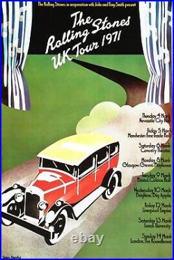 The Rolling Stones UK Tour Vintage 1971 Concert Poster