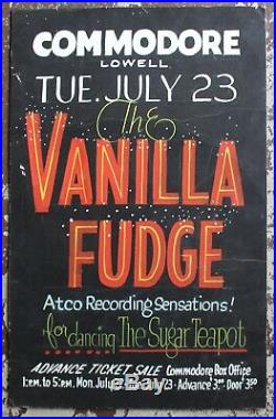 The Vanilla Fudge Original Hand Painted 1968 Concert Poster Commodore Lowell MA