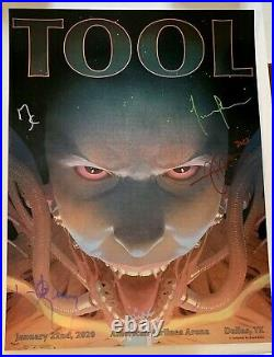 Tool signed poster dallas concert 2020 tour group autographed full maynard sig