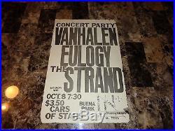 Van Halen Original Concert Show Poster 1977 Eddie David Lee Roth Alex Buena Park