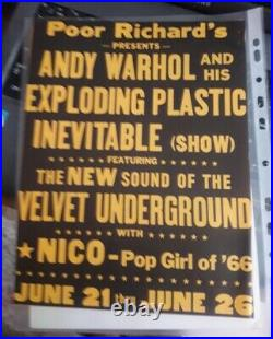 Velvet Underground & Nico Andy Warhol Concert Flyer Ad Poster Us 1966 Original