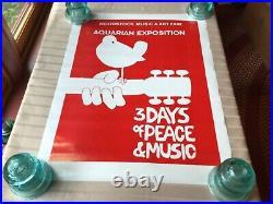 Vintage 1969 Woodstock Rock Festival Music And Art Fair Concert Poster 19 x 25
