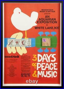 Woodstock Poster Framed Original Tickets & Wood Stage Piece Music Concert Vg-fn